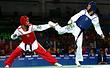 Иорданский спортсмен Ахмад Абугауш и российский спортсмен Алексей Денисенко