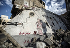 A graffiti in memory of the chemical attack victims, Zamalka, outskirts of Damascus, Syria