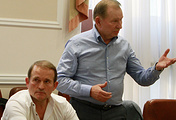 Representatives of Ukrainian government Viktor Medvedchuk (L) and Leonid Kuchma (R), during meeting with leaders of Donetsk and Luhansk peoples republic in Donetsk, Ukraine 23 June 2014
