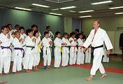 Vladimir Putin at a Judo training center in Japan, September 2000