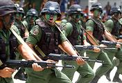 Venezuelan soldiers carrying Russian Kalashnikov AK-103 rifles
