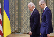 US Vice President Joseph Biden and Ukraine's Prime Minister Arseniy Yatsenyuk