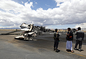 Aftermath of a Saudi-led coalition airstrike at Sana'a International Airport