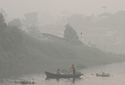Smoke caused by wildfires in Indonesia