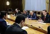 Russia's State Duma Speaker Sergey Naryshkin at the meeting with Emir of Qatar Tamim bin Hamad Al Thani