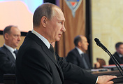 Russia's President Vladimir Putin speaking during a meeting of the Russian Federal Security Service (FSB) board