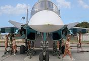 A Russian warplane at the Hmeymim base in Syria