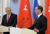 Turkish Prime Minister Binali Yildirim and Russian Prime Minister Dmitry Medvedev