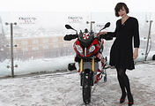 Milla Jovovich on the rooftop of Moscow's Ritz-Carlton Hotel