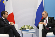 President of France Emmanuel Macron and President of Russia Vladimir Putin