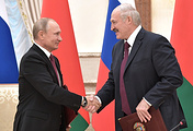 Presidents of Russia and Belarus, Vladimir Putin and Alexander Lukashenko