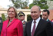 Austrian Foreign Minister Karin Kneissl and Russian President Vladimir Putin