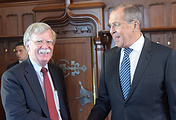 US National Security Advisor John Bolton and Russian Foreign Minister Sergey Lavrov at the Moscow meeting in June 2018