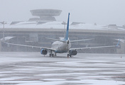 An aircraft on a runway at Moscow's Vnukovo airport