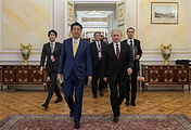 Japan's Prime Minister Shinzo Abe and Russia's President Vladimir Putin (L-R front) during a meeting at Moscow's Kremlin