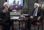 Президент Итальянской Республики Серджо Маттарелла и первый заместитель генерального директора ТАСС Михаил Гусман (справа налево)