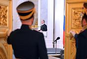 Во время выступления президента РФ Владимира Путина с ежегодным посланием к Федеральному Собранию РФ в Георгиевском зале Кремля, 2014 год