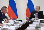 Вице-премьер РФ Дмитрий Рогозин и президент России Владимир Путин