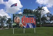Плакат с изображением Фиделя Кастро в городе Санта-Клара