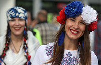 Supporters of Russia ahead of the 2017 FIFA Confederations Cup match between Mexico and Russia at Kazan Arena Stadium