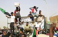Sudanese people heading towards the Army headquarters in Khartoum, Sudan
