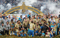 Zenit St. Petersburg players celebrating at the awarding ceremony after their 2018/19 Russian Premier League Round 28 match against CSKA Moscow at Gazprom Arena, May 12. FC Zenit St. Petersburg won 3-1