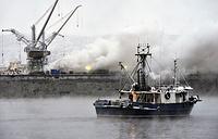 """ым от пожара на рыболовецком судне """"Одиссей-1"""", стоящем в доке Мурманского судоремонтного завода морского флота"""