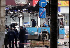 The site of a terrorist attack in Volgograd, December 2013
