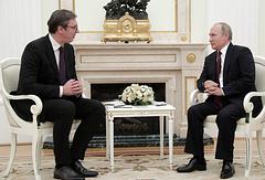 Serbian President Aleksandar Vucic and Russian President Vladimir Putin