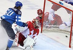 Четвертьфинал ОИ между сборными России и Финляндии