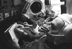 Бортинженер Владислав Волков, командир Георгий Добровольский и инженер-испытатель Виктор Пацаев, 1971 год