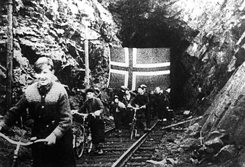 Norwegians leave shelters near Kirkenes in October 1944, after the Red army liberated the region
