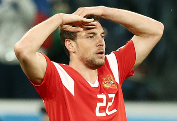 Russia's Artyom Dzyuba in the 2018 FIFA World Cup Group A Round 2 football match against Egypt at St Petersburg Stadium