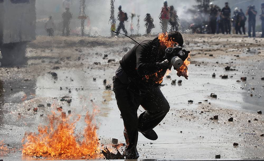 Violent clashes between protestors and the police on Taksim square in Istanbul, prompted by the authorities announcing removal of the Gezi park. July 11, 2013.