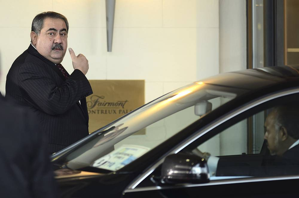 Iraqi Foreign Minister, Hoshyar Zebari, arrives for the opening the so-called Geneva II peace talks in Montreux