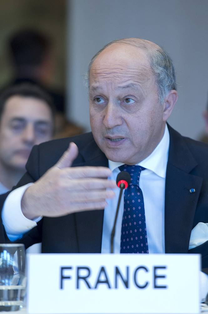 Laurent Fabius, Minister of Foreign Affairs of France speaking at the Syrian peace talks in Montreux