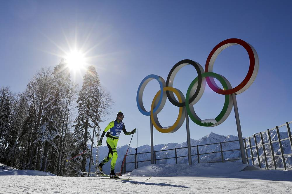 Cross-country skier trains at Laura Cross-country Ski & Biathlon Center where the main skiing events are to take place during the 2014 Sochi Winter Olympics