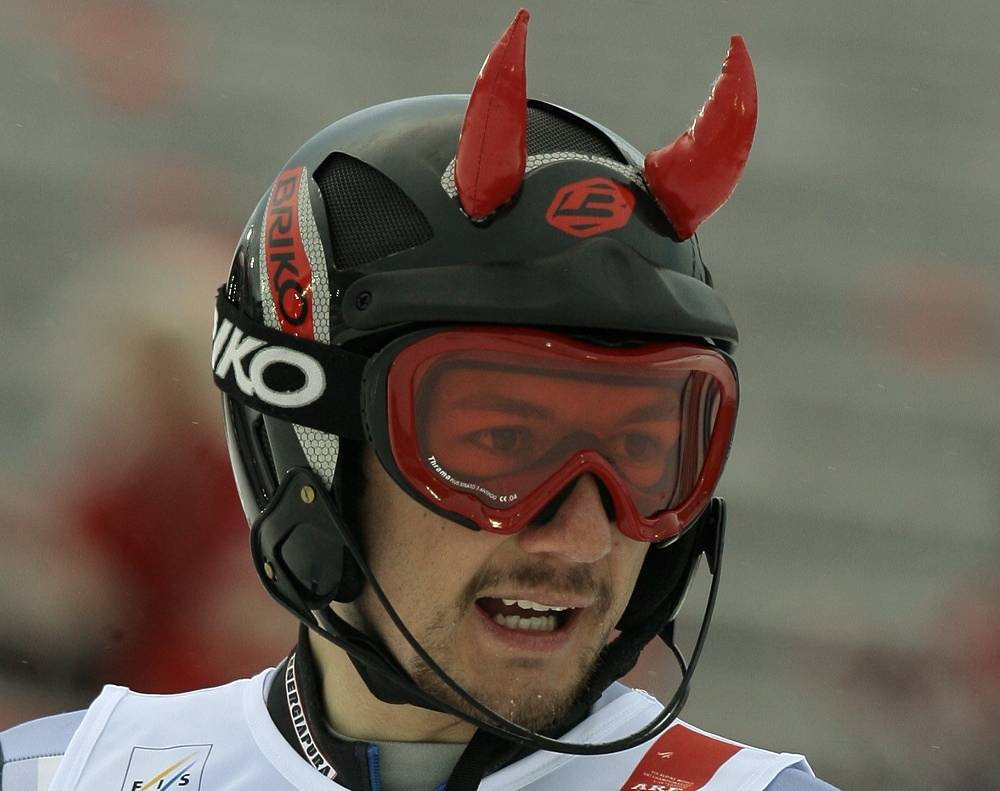 Serbia's Zelimir Vukovic devil shaped helmet surprised the spectators at World Alpine Ski Championships in 2007