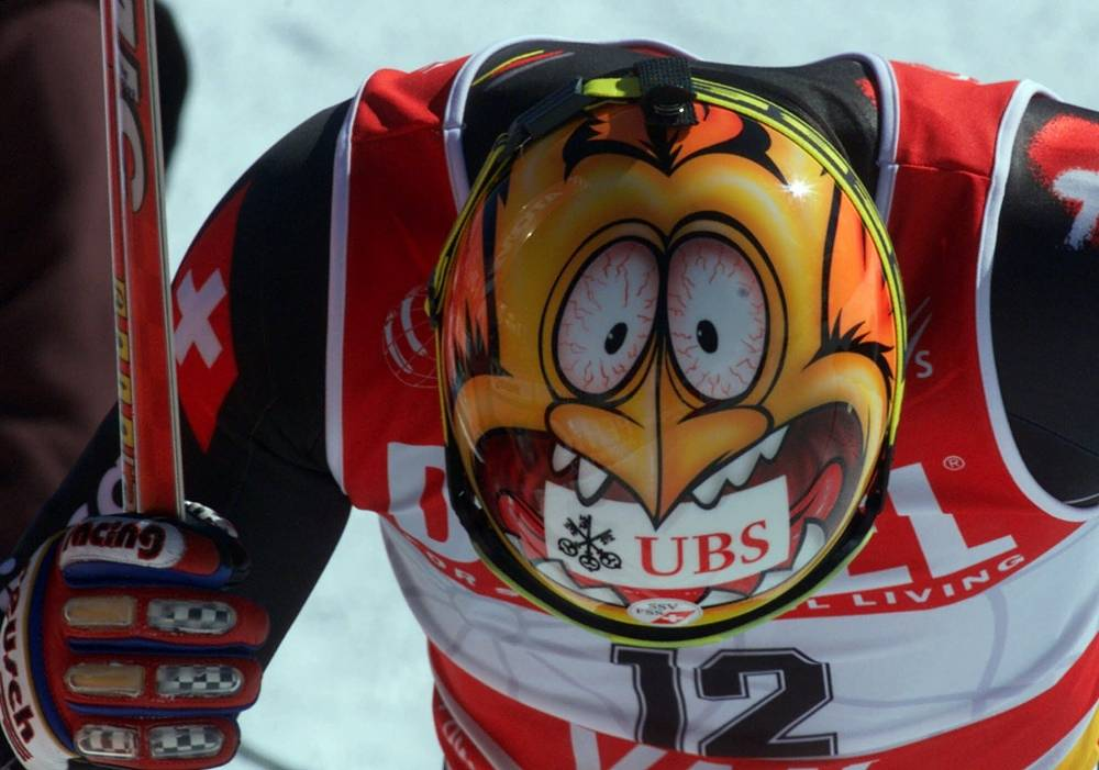 Ski helmet design of Switzerland's Steve Locher at the World Alpine Ski Championships in 1999
