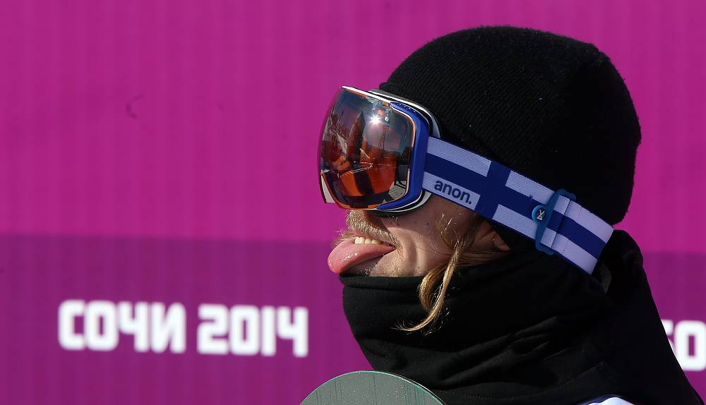 Roope Tonteri of Finland reacts after his second run during heat two of the Men's Snowboard Slopestyle qualification at Rosa Khutor Extreme Park at the Sochi 2014 Olympic Games, Krasnaya Polyana, Russia