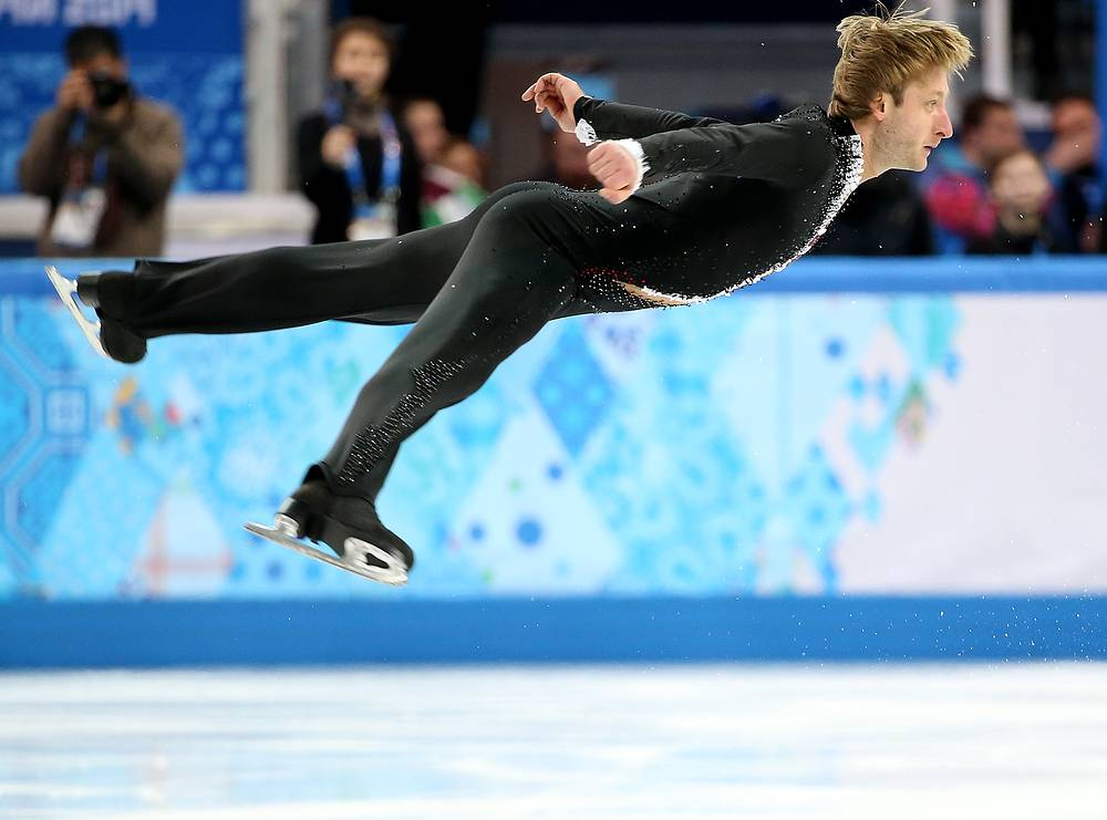 Yevgeny Plushenko during his short programm after which he is second