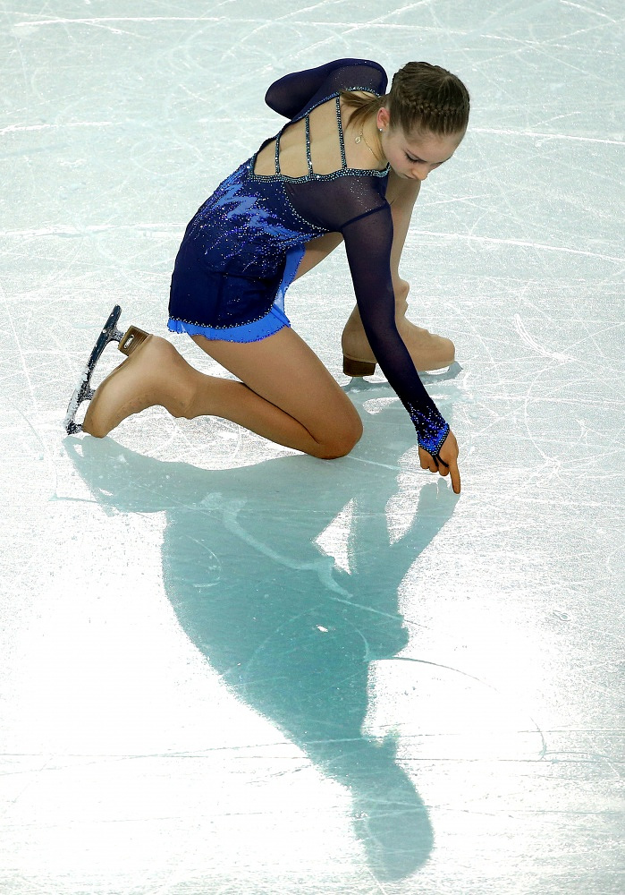Yulia Lipnitskaya during her teams short programme in Sochi