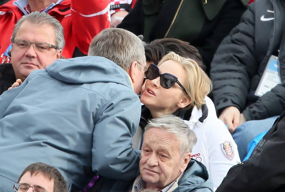 Thomas Bach greets Princess Charlene of Monaco
