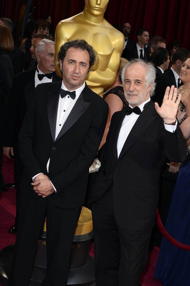 "Paolo Sorrentino (L) won the award for best foreign language film of the year for ""The Great Beauty"""