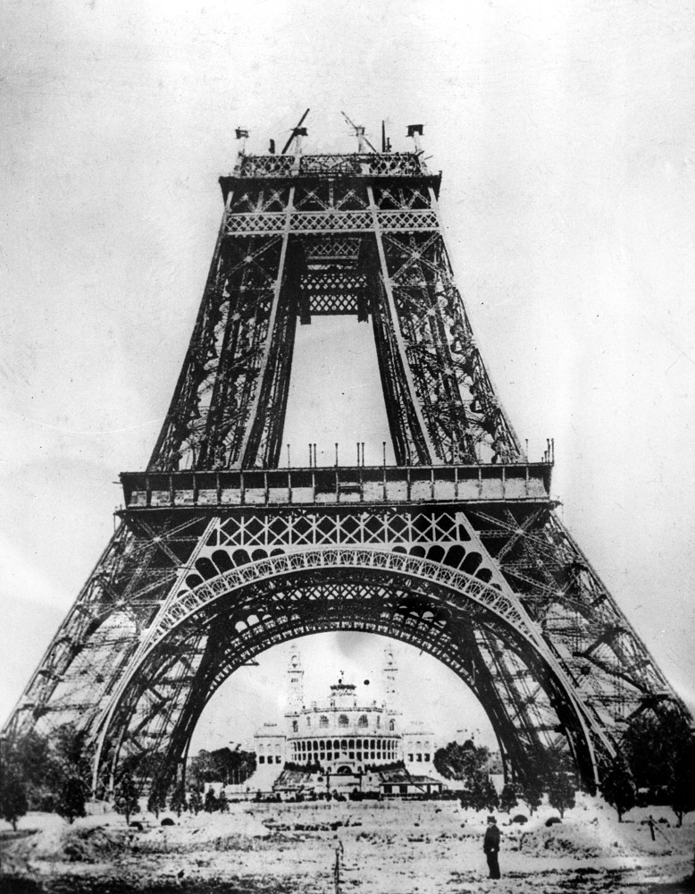 The tower was named after its creator, Gustave Eiffel. Photo: Eiffel tower during construction, 1887
