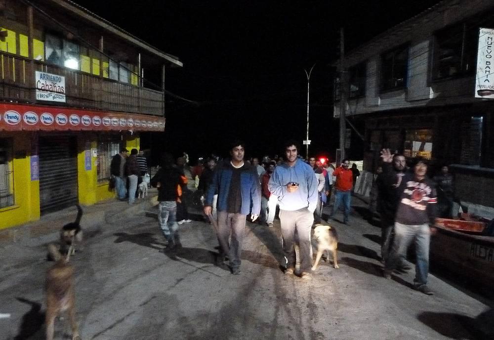 Evacuates of a coastal zone in  Iquique