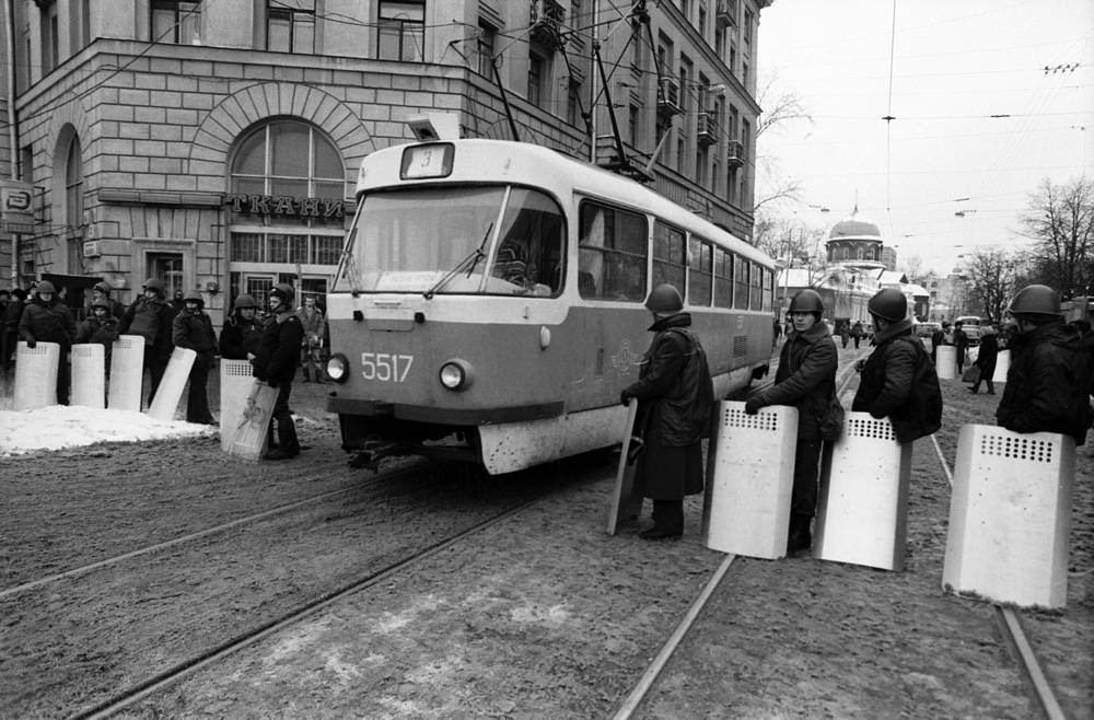 A Moscow tram during a demonstration in 1994