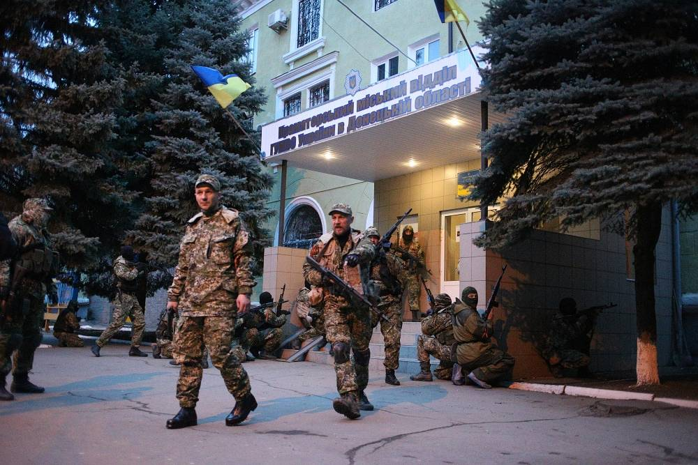 On Saturday, Apr. 12 a group supporters of a referendum seized the city office of the Interior Ministry in Kramatorsk in Donetsk Region