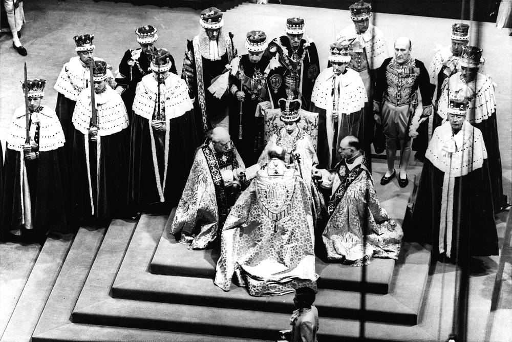 Queen Elizabeth II during her coronation in Westminster Abbey, London on June 2, 1953