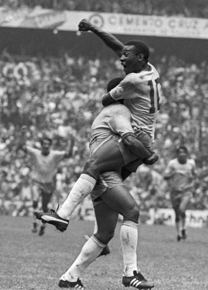 Mexico hosted the World Cup in 1970. Brazil claimed their third World Cup title winning the Final against Italy 4-1. Photo: Brazil's Pele celebrates his goal during the final match